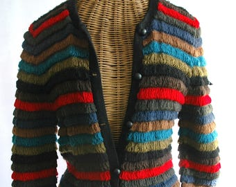 "Mid-Century Woman's Sweater - ""Wooly Bully Cardigan"""
