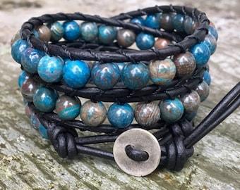 blue sky jasper beaded leather wrap bracelet blue turquoise aqua black beaded leather wrap three wrap bead bracelet