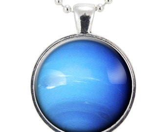 Neptune Necklace, Planet Pendant, Universe Jewelry (1149S25MMBC)