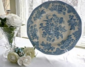 Wall Plate - Blue and White - Unicorn Tableware - Floral Design - Large Plate - Asiatic Pheasants Pattern - Cottage Chic Decor - Porcelain