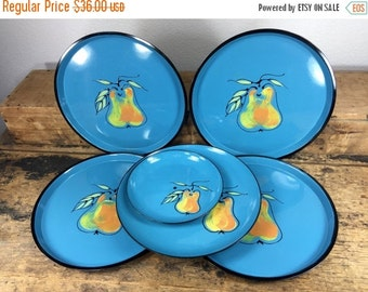 ON SALE 6 Vintage Turquoise Pear Trays Plates Display Lacquear Ware Made in Japan
