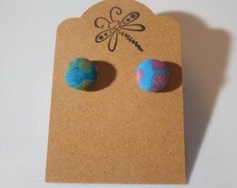 Tie Die Button Earrings