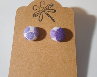 Purple Polka Dot Button Earrings