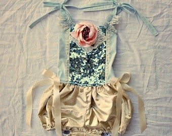 Outback Circus Romper Costume Tutu Dance Playsuit BLUE with gold and ivory Cake Smash, Prop or party