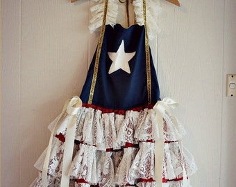 Ada Vintage American Flag Style Patriot Dress for 4th July, Holiday, Pageant, Party, Portrait or Military Wedding