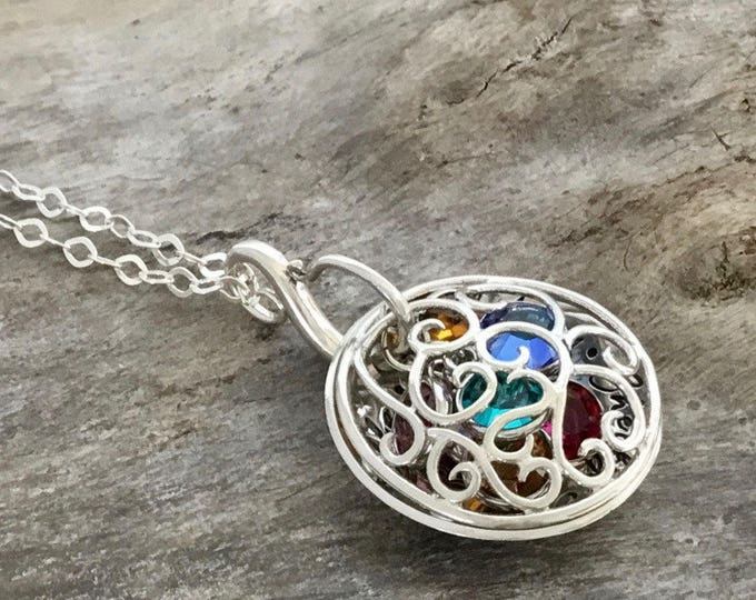 Personalized Custom Hand Stamped Sterling Silver Filigree Birthstone Locket Necklace