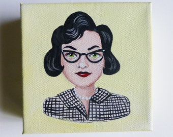 Kitty, 1940's woman with glasses an original painting.