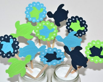 12 Turtle Cupcake Toppers / Sea Turtle Party Decor / Under The Sea Party/Sea Turtle Baby Shower /Sea Turtle Birthday Party / Boy Ocean Party
