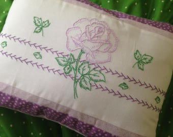 Decorative pillow with vintage embroidery - purple, lavender, polka dot, green, floral, flower - 12 by 16 inch pillow and removable cover