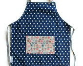 Kids apron for craft, gardening or cooking  - flower and dots