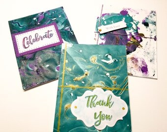 Abstract Nail polish cards - nail polish art - Celebrate - with love - thank you - indigo - purple - handmade cards - hand stamped - Wcards