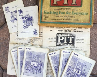 Vintage PIT Card Game Bull & Bear Edition 1903 Antique Playing Cards