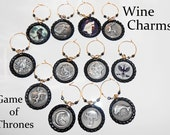 Wine Glass Charms - Game of Thrones Wine Glass Charms - Beverage Markers - Wine Glass Tags - Game of Thrones Stemware Charms - WC