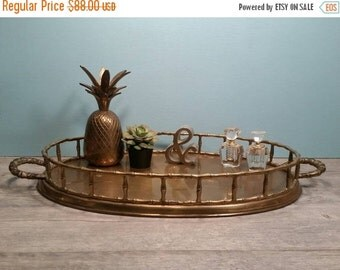 SALE - Large Brass Oval Bamboo Tray