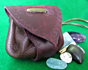 "Leather Medicine Pouch, Medicine bag, Amulet neck pouch, ""Chocolate"""