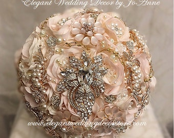 BROOCH BOUQUET, Blush Pink and Gold Bridal Brooch Bouquet, Pink and Gold Brooch Bouquet, Blush Pink Bouquet, Pink and Gold Bouquet- Deposit
