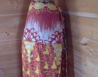 Vintage Batik Beach Wrap Skirt, Red, Yellow, White Tribal Design Print, 100% Cotton, Handmade in the Phillipenes by Vardngao