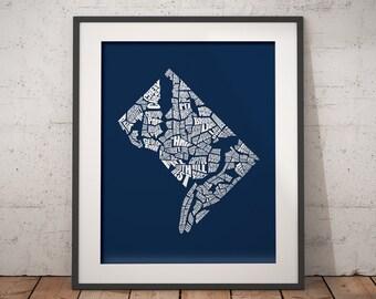 Washington DC Neighborhood Word Map - Typography Map Art, Home Decor, Housewarming Gift, Moving Gift, Travel Map, Any Custom Color, Navy