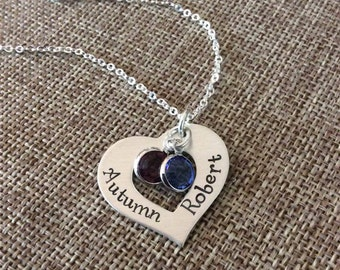 Personalized Mom Necklace, Grandma Necklace, Couples Necklace, Hand Stamped Personalized Necklace, Couples Names Necklace, Kids Names Neckla