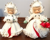 Holt Howard Snow Angels Vintage Candle Holders Christmas Angels Spaghetti Trim Red Bells Angelic Vintage 1960 Muff Perfection White Angels