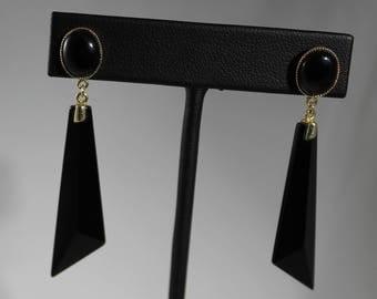 14K Yellow Gold Onyx Dangle Earrings