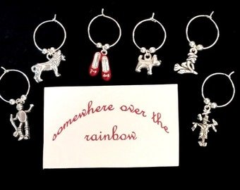 WINE CHARMS Wizard of Oz themed set of 6 with their own message card and organza bag