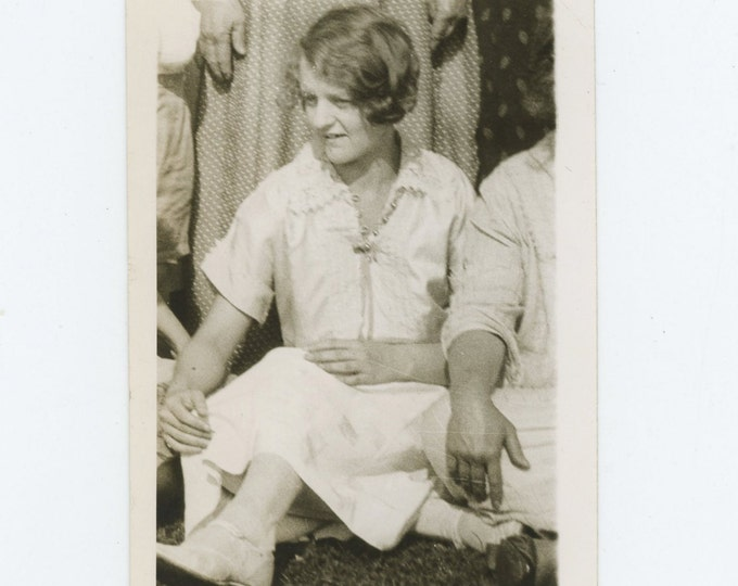 Seated Woman, Hands, 1925: Vintage Snapshot Photo (71543)