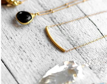 TUBE necklace with curved tube | gold