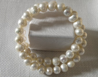 Lustrous Pearl Double Row Bracelet - 9 mm
