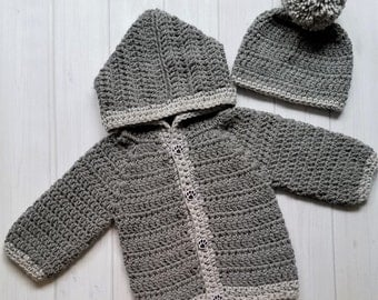 Crocheted Baby Sweater , Grey Baby Sweater with Hood, Baby Sweater Set, Hooded Baby Sweater, Crocheted Sweater, Baby Set, Baby Shower Gift