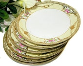 Six Noritake Hand Painted Nippon Dessert Plates Roses and Swags
