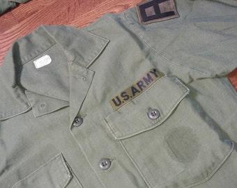 Medium, 1960s Olive Drab Cotton Army Shirt, OG 107