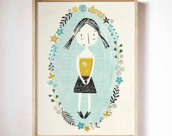 Cute girl with flowers, , Girl room, Cute girl print, Children wall art, Children nursery decor, Kids room decor