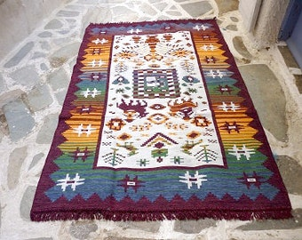 Cotton kilim/ rug - Tribal designs - Traditional & modern rug - 0001813