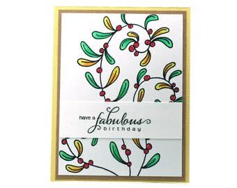 Fabulous birthday card, yellow, flowering vine blank card, happy birthday, birthday wishes, floral