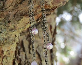 Lavender flower dangle earrings