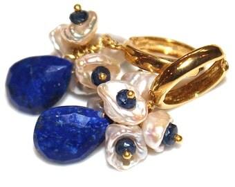 Lapis Lazuli Earring Teardrop Earrings Keshi Pearl Earrings Sapphire Jewelry Lapis Jewelry December Birthstone Gold Cluster Earrings Hoops