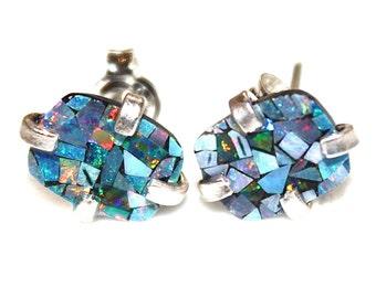 Australian Lightning Ridge Opal Earring Opal Stud Earring Opal Mosaic Earring Simple Earrings Delicate Jewelry Opal Jewelry Jewel Tones