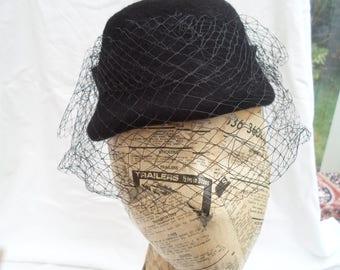 Black felt perch hat with merry widow veiling