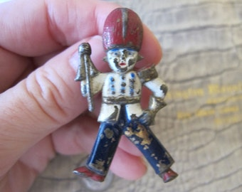 WWII Patriotic Figural Pin Brooch. Novelty 1940's Jewelry. Red White & Blue British Guard, Soldier, AS IS Watch Pin, by Designer DuBarry