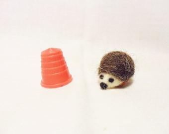 Needle Felted Hedgehog - miniature hedgehog - merino & corriedale wool - micro miniature animal - wool felt hedgehog