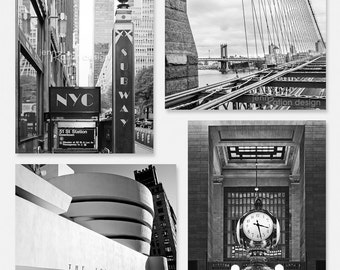 New York Photography, New York City Photo Series, New York City Print Set, Black & White NYC Photos, Subway Sign, Guggenheim, Grand Central