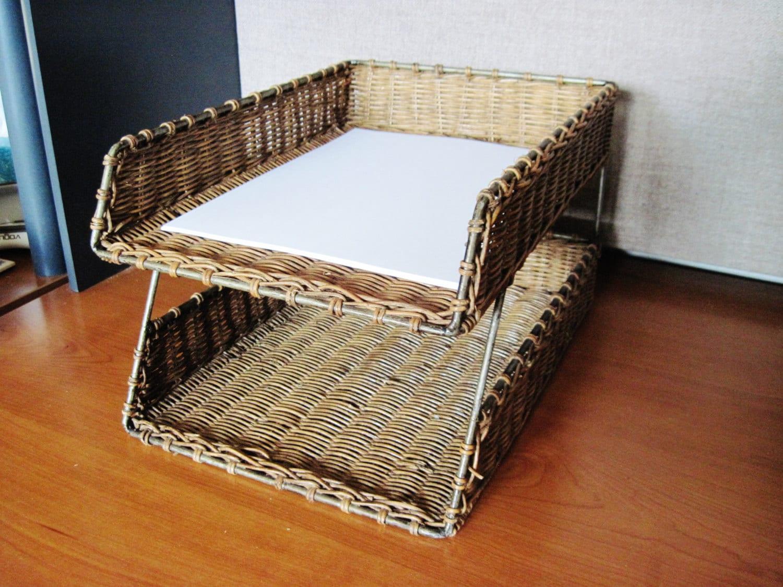 rattan desk paper organizer paper holder printer paper. Black Bedroom Furniture Sets. Home Design Ideas