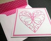 Pink Die Cut Heart Happy Valentine's Day Card - Valentine's Cards - Pink Cut Out Hearts