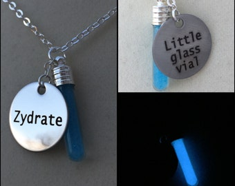 Glowing, Zydrate, Vial Necklace, Glow in the Dark, Glass Bottle, Dark Blue, Resin, Repo, Genetic Opera, Movie Inspired, Jewelry, OOAK, Gift