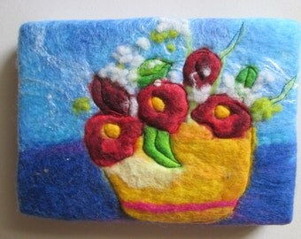 textile art, felt art, ideal gift of flowers