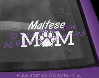 Maltese Mom Pawprint Decal