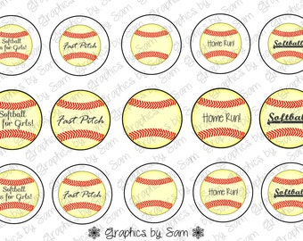 """1"""" DIGITAL Bottle Cap IMAGES ~ SOFTBALL ~For Use On Finished Products Only"""