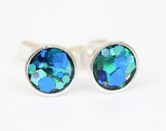 Blue sparkle glitter sterling silver and resin earrings