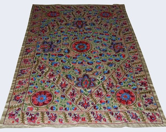 Gorgeous Uzbek hand embroidered silk on silk suzani of Nurota one of region Uzbekistan (pl-41)